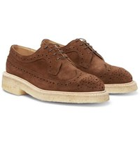 Tricker's Suede Wingtip Brogues Brown
