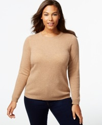 Charter Club Plus Size Cashmere Crew Neck Sweater In 14 Colors Only At Macy's Heather Camel