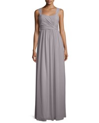 Donna Morgan Sleeveless Ruched Chiffon Gown Sterling