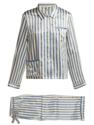 Morgan Lane Ruthie Striped Silk Pyjama Set Blue Stripe