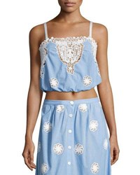 Miguelina Hannah Versailles Sleeveless Lace Crop Top Blue