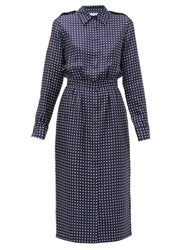 Gabriela Hearst Military Polka Dot Silk Shirtdress Navy White