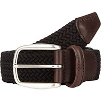 Barneys New York Men's Woven Elastic Belt Black Blue Black Blue