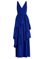 Osman Amy Plunging Tiered Wool Crepe Gown Navy
