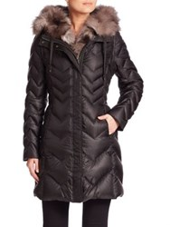 Dawn Levy Naomi Fox Fur Lined Down Puffer Jacket Black
