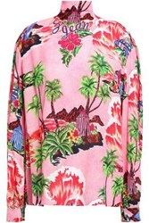 Stella Jean Woman Bow Detailed Printed Crepe Blouse Pink