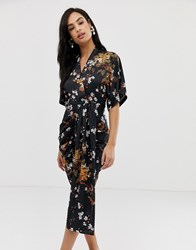 Liquorish Floral Midi Dress With Drape Front Detail Multi