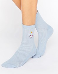 Asos Unicorn Poo And Rainbow Embroidered Badge Socks Blue