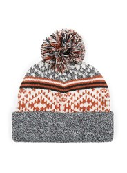 Topman Multi Black Grey And Orange Intarsia Bobble Beanie Hat