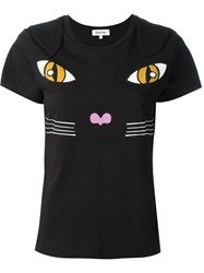 Yazbukey Cat Print T Shirt Black