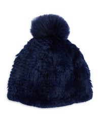 Adrienne Landau Fox Fur Pom Pom Accented Rabbit Fur Beanie Hat Navy Blue