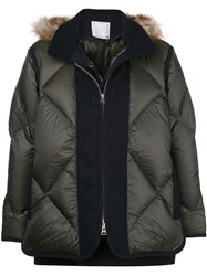 Sacai Quilted Panel Down Jacket Green