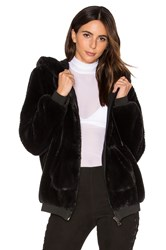 Kendall Kylie Fur Zip Up Faux Fur Hoodie Black