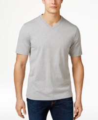 Club Room Men's Cotton V Neck T Shirt Only At Macy's Light Grey Heather