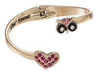 Betsey Johnson Owl Pave Heart Bypass Hinged Bangle Bracelet Pink Bracelet
