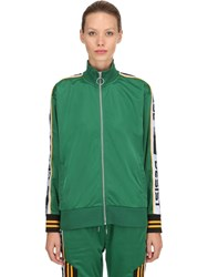 Cease And Desist Logo Bands Techno Tricot Track Jacket Green