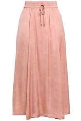 Dkny Woman Pleated Crepe De Chine Midi Skirt Antique Rose