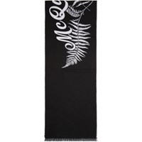 Alexander Mcqueen Black And Off White Wool Fern Logo Scarf