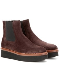 Tod's Suede Platform Chelsea Boots Brown
