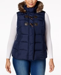 Charter Club Plus Size Faux Fur Trim Puffer Vest Only At Macy's Intrepid Blue