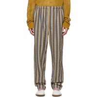 Christophe Lemaire Yellow And Blue Seersucker Elasticated Trousers