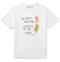 Hartford Slim Fit Printed Slub Cotton Jersey T Shirt White