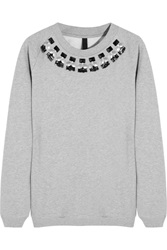 Mother Of Pearl Lucas Embellished Cotton Jersey Sweatshirt Gray