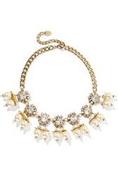 Erickson Beamon Future Shock Gold Plated Faux Pearl And Swarovski Crystal Necklace