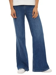 Jaeger High Rise Wide Leg Jeans Mid Blue