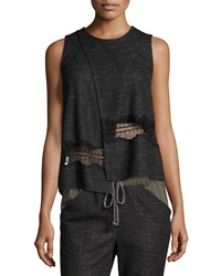Thakoon Crossover Lace Trim Tank Charcoal