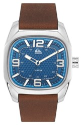 Men's Quiksilver 'The Bruiser' Leather Strap Watch 42Mm