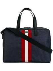 Bally Contrast Stripe Holdall Blue