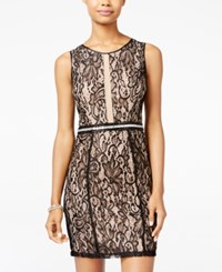 Crystal Doll Juniors' Embellished Lace Bodycon Dress Black Nude