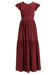 Loup Charmant Mayette Plunge Neck Silk Dress Burgundy