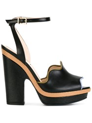 Fendi Peep Toe Waves Sandals Black