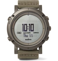 Suunto Essential Stainless Steel And Webbing Digital Watch Gray Green