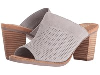 Toms Majorca Mule Sandal Drizzle Grey Suede Perforated Women's Clog Mule Shoes White