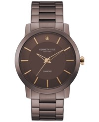 Kenneth Cole New York Men's Diamond Accent Brown Ion Plated Stainless Steel Bracelet Watch 44Mm Kc9287