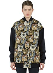 Stella Mccartney Long Cat Embroidered Bomber Jacket Black