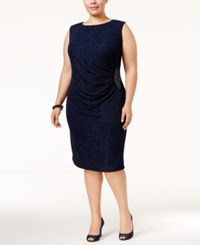 Betsy And Adam Plus Size Glitter Draped Dress Navy
