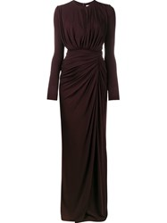 Givenchy Ruched Floor Length Gown Pink Purple