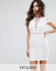 Naanaa Bodycon Dress In Mesh Lace Contrast White