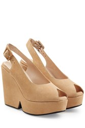 Robert Clergerie Dylan Suede Wedges Camel