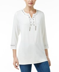 Jm Collection Petite Embellished Lace Up Tunic Only At Macy's Winter White
