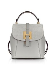 Le Parmentier Pearl Gray Suede And Leather Small Backpack