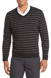 Men's Big And Tall Nordstrom Colorblock Stripe V Neck Merino Wool Sweater Black Charcoal Nautical Stripe