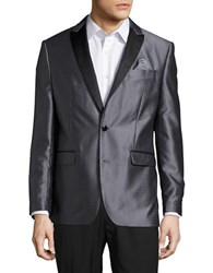 Tallia Orange Mason Collection Patterned Satin Tuxedo Jacket Charcoal