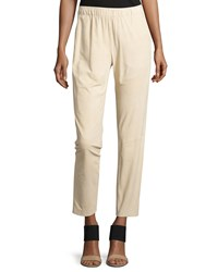 Lafayette 148 New York Piped Suede Track Pants Soy