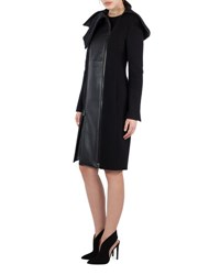Akris Textured Wool And Lamb Leather Coat Black