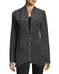 Xcvi Asymmetrical Velour Jacket Gray